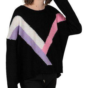 Lili Sidonio Geo Front Contrast Stripe Sweater
